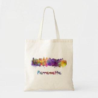 Parramatta skyline in watercolor tote bag