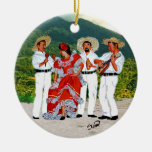 Parranda Jíbara Double-Sided Ceramic Round Christmas Ornament