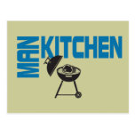Parrilla de la cocina del hombre postales