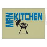 Parrilla de la cocina del hombre tarjeta