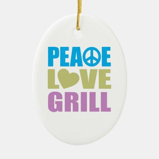 Parrilla del amor de la paz adornos