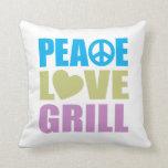 Parrilla del amor de la paz almohadas