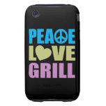 Parrilla del amor de la paz tough iPhone 3 coberturas