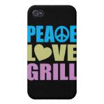 Parrilla del amor de la paz iPhone 4 coberturas