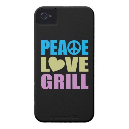 Parrilla del amor de la paz iPhone 4 funda