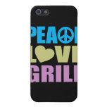 Parrilla del amor de la paz iPhone 5 protector
