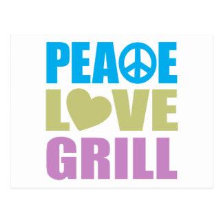Parrilla del amor de la paz postal