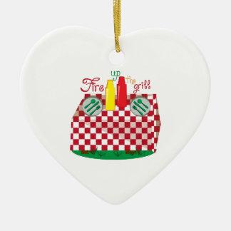 Parrilla del fuego adorno de cerámica en forma de corazón