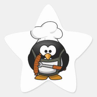 Parrilla del pingüino pegatina en forma de estrella