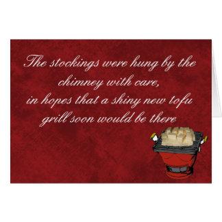 Parrilla del queso de soja para el navidad tarjeta pequeña