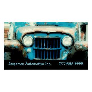 Parrilla delantera auto y linternas del viejo vint plantilla de tarjeta de visita