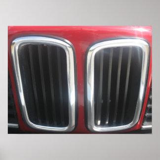 Parrilla roja de BMW 635 CSi (riñones gemelos) Póster