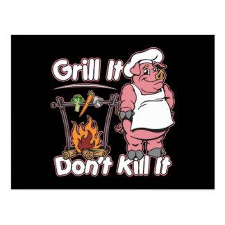 Parrilla vegetariana no le mata tarjetas postales