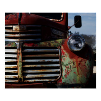 Parrilla vieja del camión poster