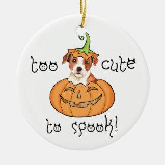 Párroco Russell Terrier de Halloween Adorno Navideño Redondo De Cerámica