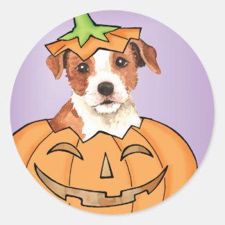 Párroco Russell Terrier de Halloween Etiqueta Redonda