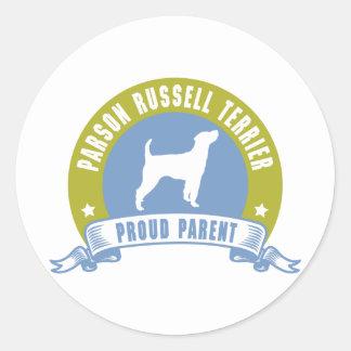 Párroco Russell Terrier Pegatinas Redondas