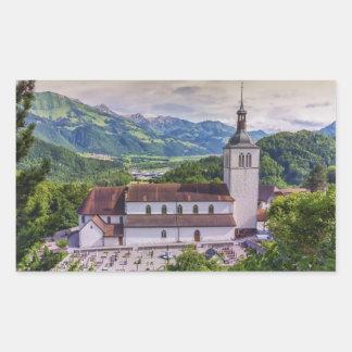 Parroquia del Santo-Theodule, Gruyeres, Suiza Pegatina Rectangular