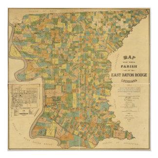 """Parroquia mapa de Baton Rouge del este, Luisiana Invitación 5.25"""" X 5.25"""""""