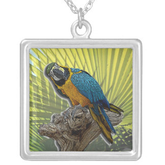 Parrot #2 with palms square pendant necklace
