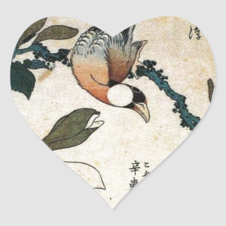 Parrot and Flowers Heart Sticker