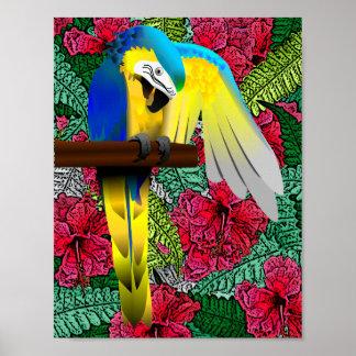 Parrot and Hibiscus Hawaiian Print Design