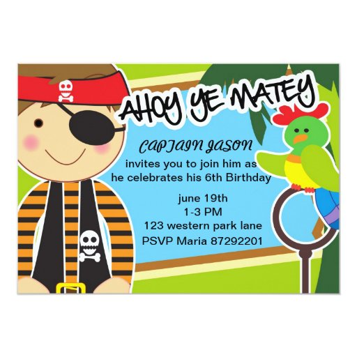 """Parrot and pirate Birthday invitation for boys 5"""" X 7"""" Invitation Card"""