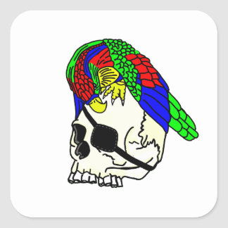 Parrot and Pirate Skull Square Sticker