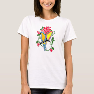 Parrot and Red Rose Motif T-Shirt