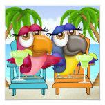 "Parrot Beach Party Invitation - SRF 5.25"" Square Invitation Card"