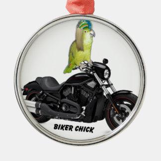Parrot Biker Chick on Harley Davidson Metal Ornament