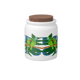 Parrot Bird Food Jar Candy Dish