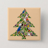 Parrot Christmas Tree Square Button
