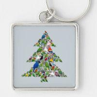 Parrot Christmas Tree Premium Square Keychain