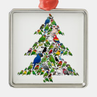 Parrot Christmas Tree Premium Square Ornament