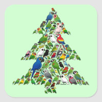 Parrot Christmas Tree Square Sticker