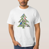 Parrot Christmas Tree Men's Crew Value T-Shirt