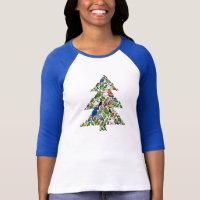 Parrot Christmas Tree Ladies Raglan Fitted T-Shirt
