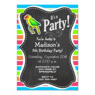 Parrot; Colorful Retro Neon Rainbow 5x7 Paper Invitation Card