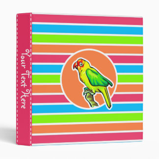 Parrot; Colorful Retro Neon Rainbow Binder