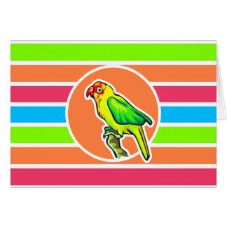 Parrot; Colorful Retro Neon Rainbow Card