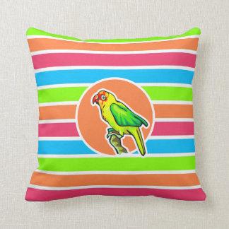 Parrot; Colorful Retro Neon Rainbow Throw Pillow