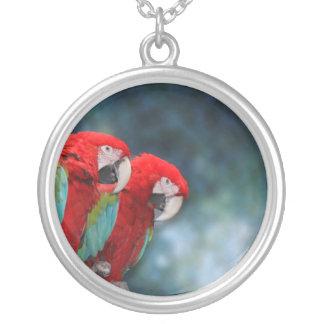 Parrot Couple Round Pendant Necklace
