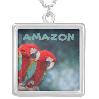 Parrot Couple Square Pendant Necklace