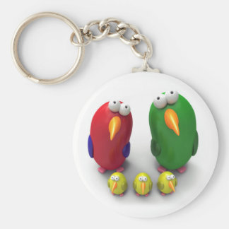Parrot family basic round button keychain
