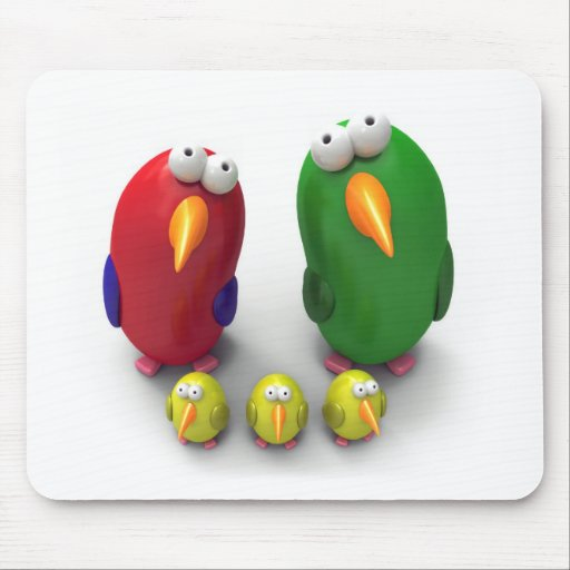 Parrot family mouse pad