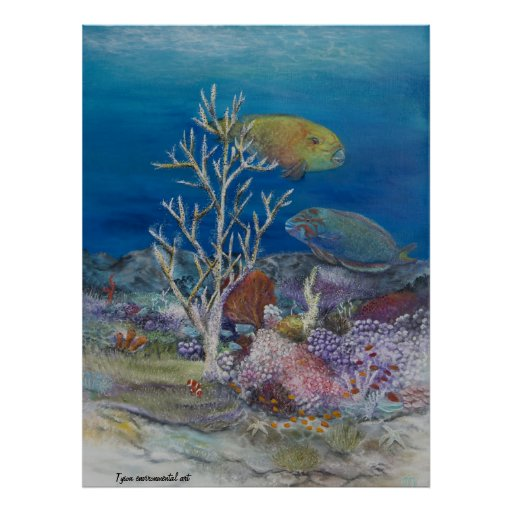 Parrot fish painting on posters