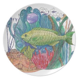 Parrot Fish Pardise Dinner Plate