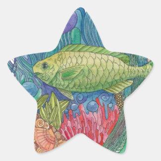 Parrot Fish Pardise Star Sticker
