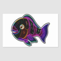 Parrot fish rectangular sticker